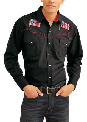 Plains Big Mens Long Sleeve Solid with Flag Embroidery And Piping