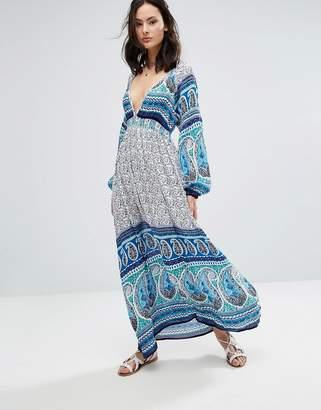 Raga Love Spell Printed Plunge Maxi Dress
