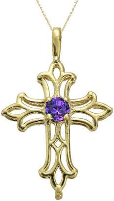JCPenney FINE JEWELRY Genuine Amethyst 10K Yellow Gold Cross Pendant Necklace