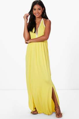 boohoo V Neck Trim Halter Neck Maxi Dress