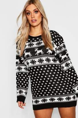 boohoo Plus Reindeer & Snowflake Christmas Jumper Dress