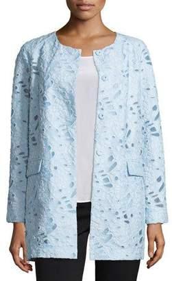 Neiman Marcus Jacquard Burnout Topper Coat $295 thestylecure.com