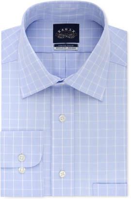 Eagle Men's Big & Tall Classic/Regular Fit Non-Iron Flex Collar Performance Blue Check Dress Shirt