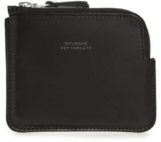 Saturdays NYC Leather Half Zip Wallet