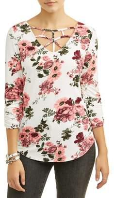 No Boundaries Juniors' Floral Printed Caged V-Neck Crochet Lace Back Long Sleeve T-Shirt