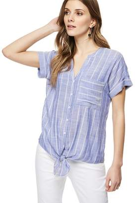 at Debenhams The Collection - Blue Pinstripe Stitched Tie Hem Top