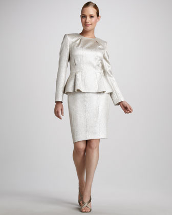 Albert Nipon Jewel-Neck Metallic Suit