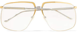 Gucci Gold And Silver-tone Square-frame Optical Glasses - Clear