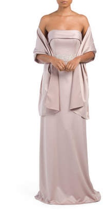 Satin Gown With Embellished Waist