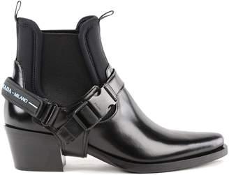 Prada Logo Strap Buckle Ankle Boots
