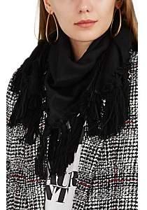 Saint Laurent Women's Suede-Fringed Alpaca-Wool Gauze Triangle Scarf - Black