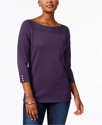 Karen Scott Boat-Neck Cotton Sweater, Created for Macy's $46.50 thestylecure.com