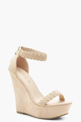 boohoo Plaited Strap High Wedges