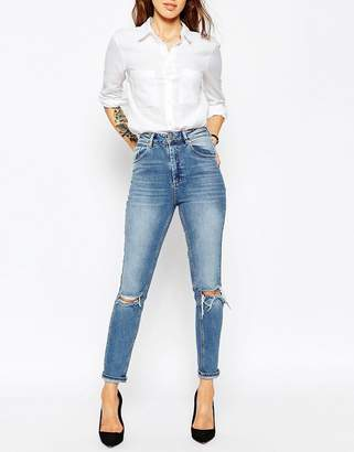 Asos Design Farleigh High Waist Slim Mom Jeans In Mid Wash Blue With Busted Knees