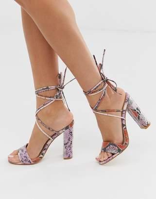 Public Desire Suzu pink snake ankle tie heeled sandals
