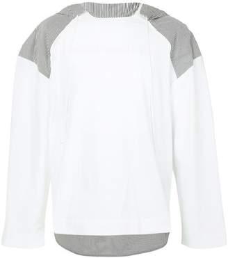 Juun.J contrasting panel hoodie