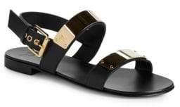 Giuseppe Zanotti Metallic Plaque Leather Slingback Sandals
