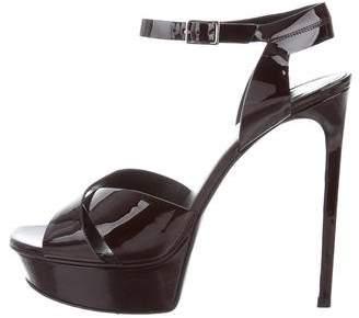 Saint Laurent Patent Leather Platform Sandals