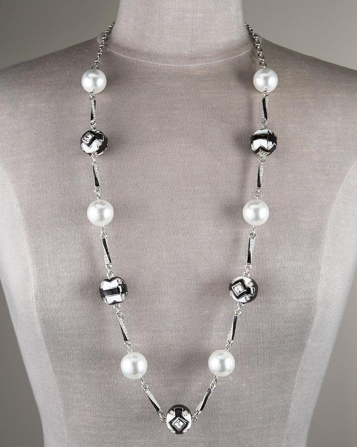 Oscar de la Renta Art Deco Pearl & Enamel Necklace