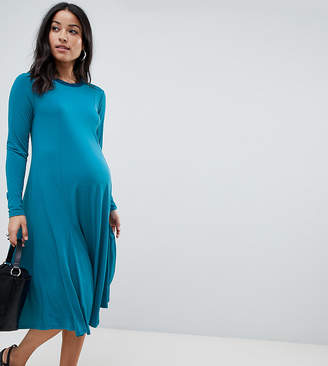 Asos DESIGN Maternity midi swing dress with long sleeves in slinky crepe