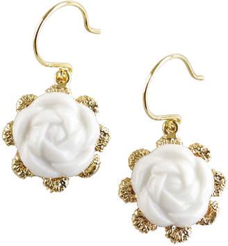 """Poporcelain Porcelain Flower Charm Earrings """"Camellia"""""""