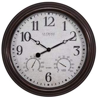 "La Crosse Clock 404-3015 15"" Indoor/Outdoor Clock with Temperature and Humidity"