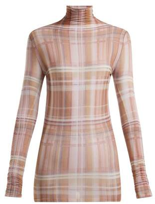 Acne Studios - Check Print Jersey Roll Neck Top - Womens - Pink Multi