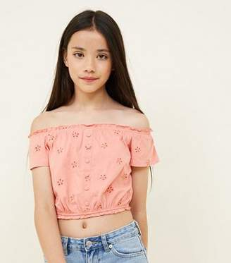 New Look Girls Coral Broderie Button Front Bardot Top