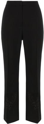 Stella McCartney embroidered kick flare wool trousers