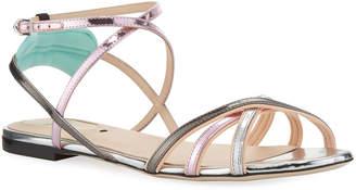 Fendi Colibri Metallic Strappy Flat Sandals