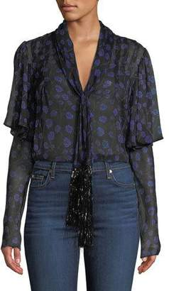 Diane von Furstenberg Margie Floral Tie-Neck Silk Top with Tinsel Fringe