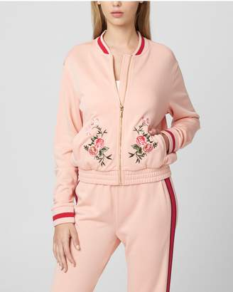 Juicy Couture Embroidered Floral Tricot Bomber Jacket