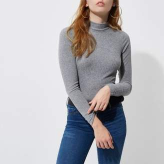 River Island Womens Grey brushed rib high neck fitted top