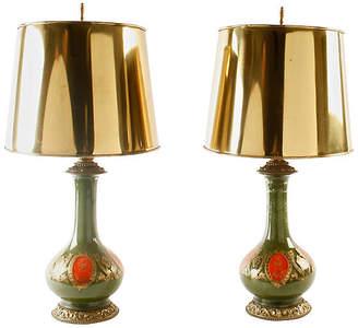 One Kings Lane Vintage Glass Lamps - Set of 2