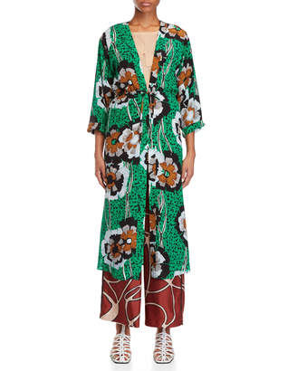 Alysi Printed Long Sleeve Silk Robe