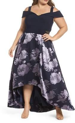 Xscape Evenings Off the Shoulder Brocade High/Low Dress (Plus Size)