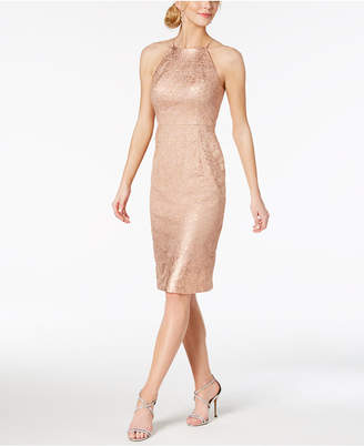 Adrianna Papell Ombre-Metallic Lace Sheath Dress
