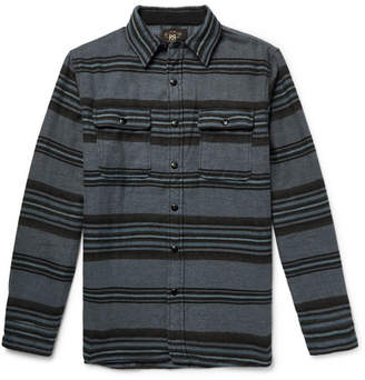 RRL Striped Brushed Cotton And Wool-Blend Overshirt