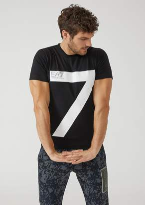Emporio Armani Ea7 Stretch Jersey T-Shirt With 7 Maxi Print
