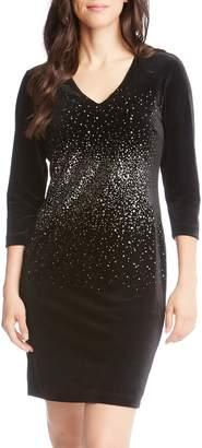 Karen Kane Metallic Splatter Print Sheath Dress