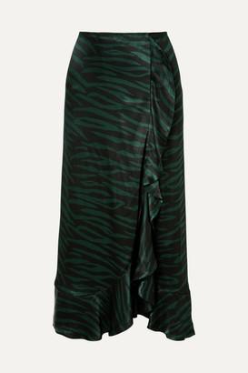 Ganni Cameron Ruffled Printed Satin Wrap-effect Skirt - Black