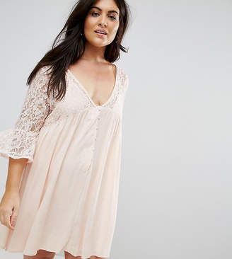 Club L Plus Lace Detail Flute Sleeve Dress