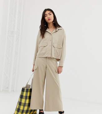 Monki wide leg cargo pants with pockets in beige