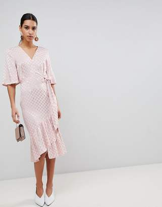 40abd4e1b4 Asos Design Jacquard Kimono Sleeve Wrap Midi Dress