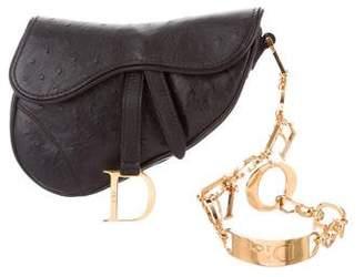 Christian Dior Embossed Saddle Wristlet