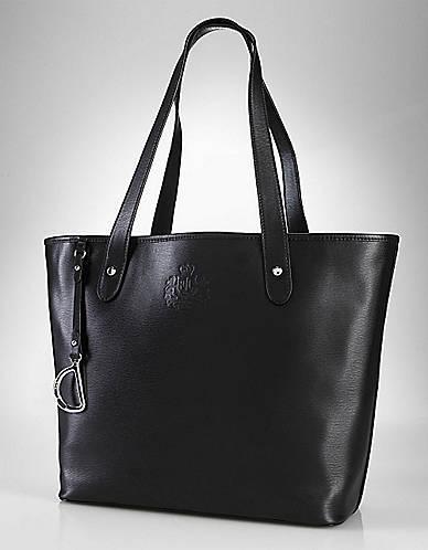 Lauren Ralph Lauren Newbury Black Leather Tote Bag