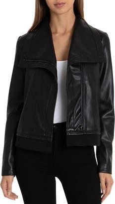 Bagatelle Faux-Leather Envelope-Collar Jacket