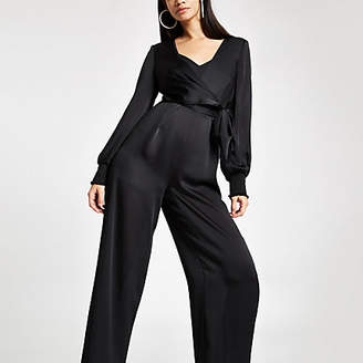 River Island Black wrap tie waist wide leg jumpsuit