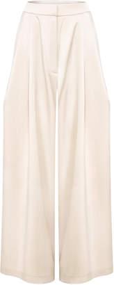 Abadia Signature Wide-Leg Satin Crepe Pants