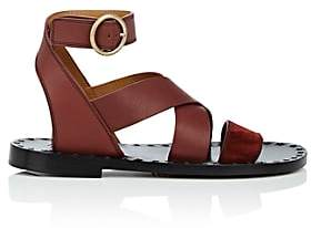 Chloé Women's Suede & Leather Ankle-Wrap Sandals-Med. brown